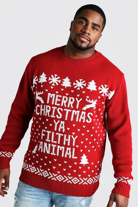 Big And Tall Filthy Animal Christmas Jumper by Boohoo Man