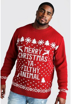Mens Red Big And Tall Filthy Animal Christmas Jumper
