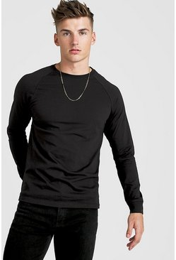 Mens Black Long Sleeve Raglan T-Shirt