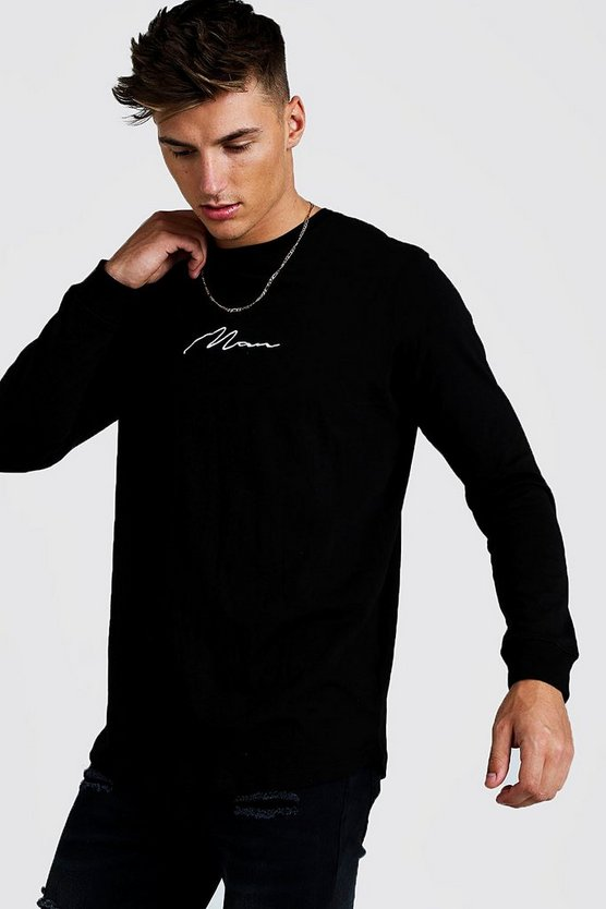 Mens Black MAN Signature LS Longline Curved Hem T-Shirt
