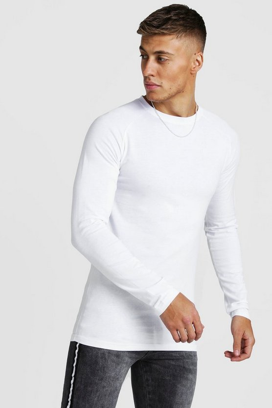 White Muscle Fit Long Sleeve Raglan T-Shirt