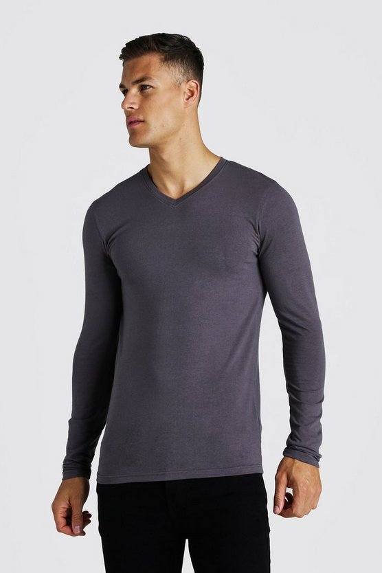 Charcoal Muscle Fit Long Sleeve V Neck T-Shirt