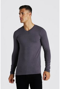 Mens Charcoal Muscle Fit Long Sleeve V Neck T-Shirt