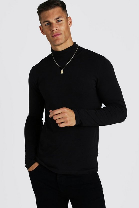 Mens Black Muscle Fit Long Sleeve Roll Neck T-Shirt