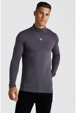 Charcoal Muscle Fit Long Sleeve Roll Neck T-Shirt