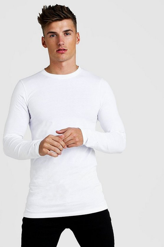 Mens White Muscle Fit Long Sleeve Longline T-Shirt