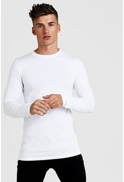 Langärmeliges Muscle-Fit Longline T-Shirt, Weiß
