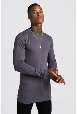 Mens Charcoal Muscle Fit Long Sleeve Longline T-Shirt
