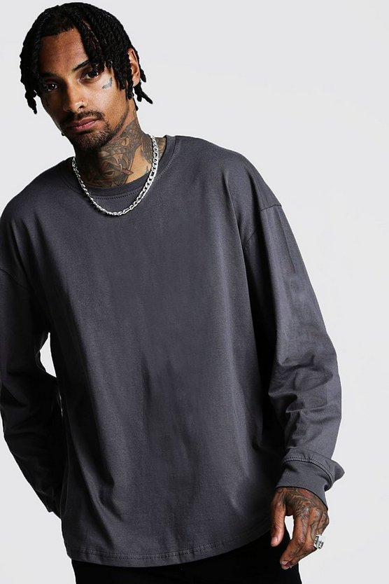 Mens Charcoal Oversized Long Sleeve Curved Hem T-Shirt