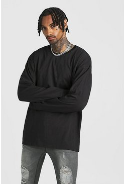 Mens Black Oversized Long Sleeve Longline T-Shirt