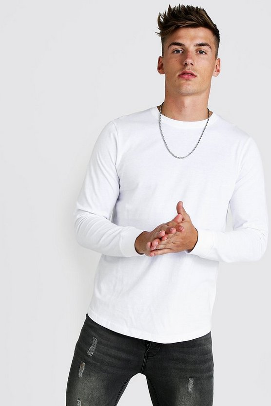 White Long Sleeve T-Shirt With Curved Hem