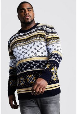 Mens Navy Big And Tall Festive Intarsia Christmas Jumper
