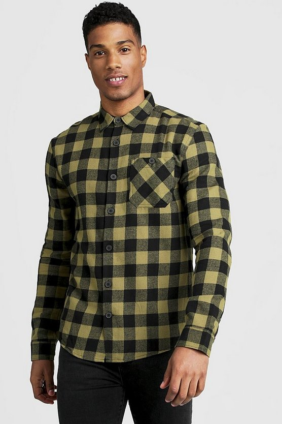 Mens Khaki Long Sleeve Flannel Check Shirt
