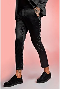 Mens Black Satin Skinny Fit Cropped Suit Trouser