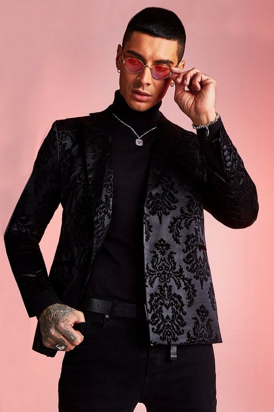 Black Flocked Jacquard Skinny Fit Double Breasted Jacket