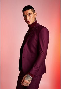 Maroon Plain Skinny Fit Suit Jacket