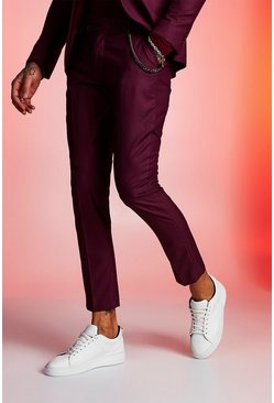 Mens Maroon Plain Skinny Fit Suit Trouser With Chain