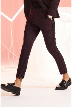 Mens Maroon Paisley Jacquard Skinny Fit Suit Trouser