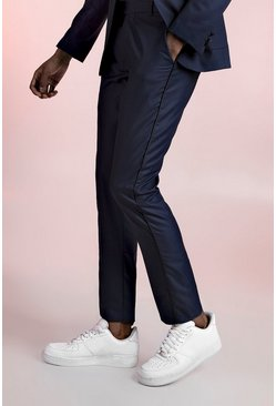 Navy Skinny Fit Suit Trouser With Satin Piping