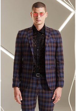 Mens Plum Tartan Skinny Fit Suit Jacket