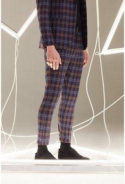 Mens Plum Tartan Skinny Fit Cropped Suit Trouser