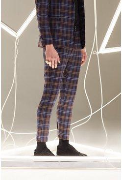 Plum Plaid Skinny Fit Cropped Suit Pants