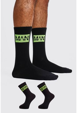 Mens Black 2 Pack MAN DASH Sock