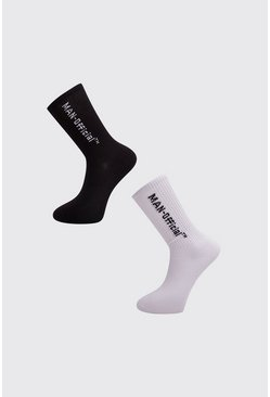 Mens White 2 Pack MAN Official Sock
