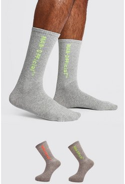 Mens Grey 2 Pack MAN Offical Sock