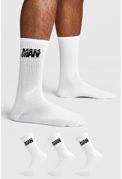 Mens White 3 Pack MAN Orbit Sock
