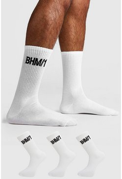 Mens White 3 Pack BHM Sock