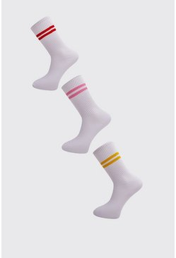 Mens White 3 Pack Sports Stripe Socks