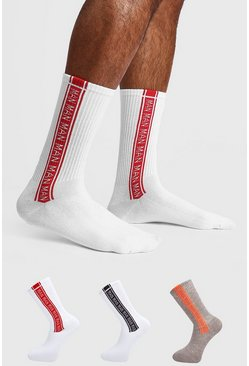 Mens Multi 3 Pack MAN Repeat Sock