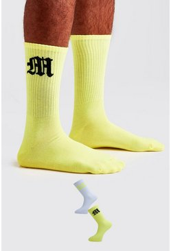 Neon-yellow 2 Pack Gothic M Socks