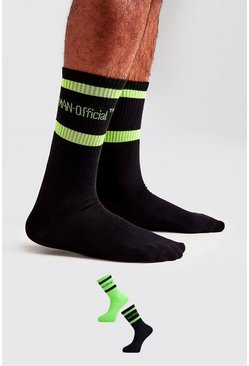 Green MAN Official 2 Pack Neon Socks