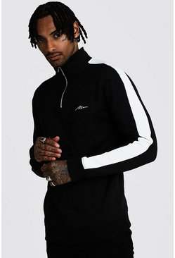 Mens Black MAN Signature 1/4 Zip Funnel Neck Top