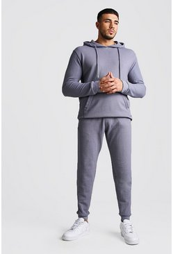 Mens Dark blue Pique Hooded Skinny Fit Tracksuit