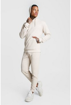 Mens Stone Pique Hooded Skinny Fit Tracksuit