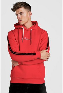 Red MAN Signature Hoodie With Tape Detail