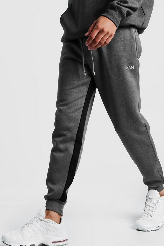 Mens Charcoal Original MAN Skinny Fit Jogger With Inside Leg Panel