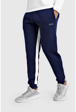 Mens Navy Original MAN Skinny Fit Jogger With Inside Leg Panel