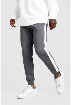 Mens Grey MAN Signature Skinny Side Panel Jogger