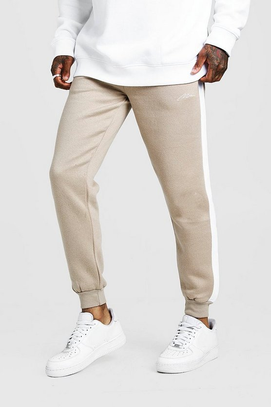 Mens Taupe MAN Signature Skinny Side Panel Jogger