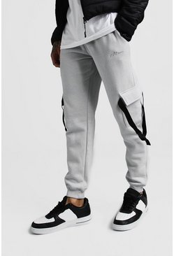 Mens Grey MAN Signature Slim Fit Cargo Jogger With Buckle