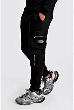 Mens Black MAN Official Print Cargo Jogger With 3D Pockets