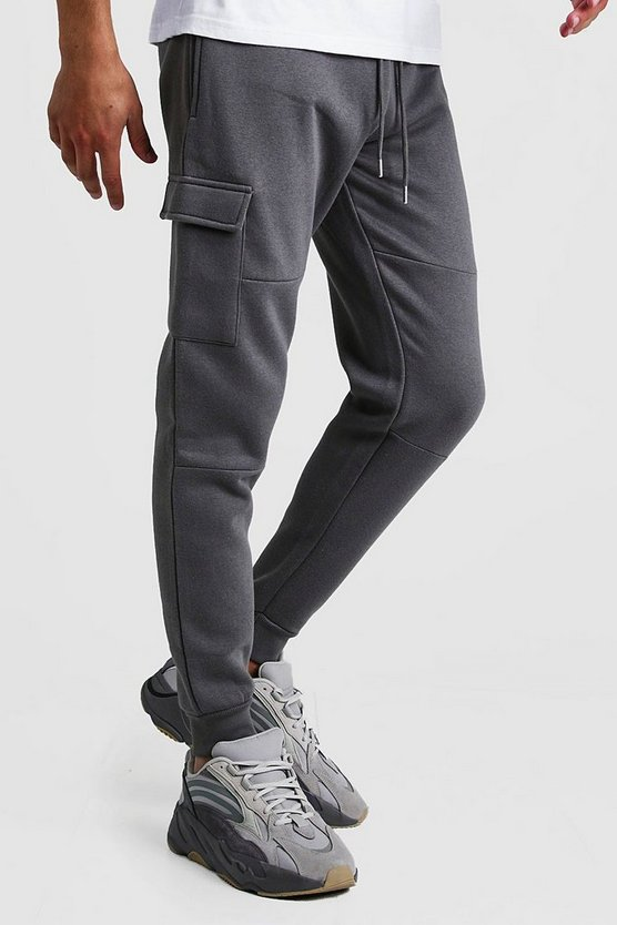 Mens Charcoal Skinny Fit Panelled Cargo Jogger