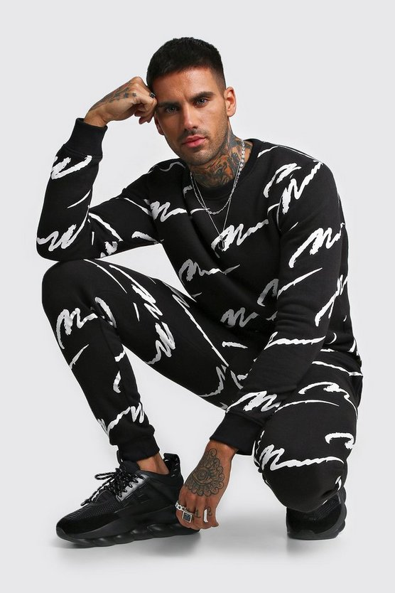 Mens Black All Over MAN Printed Sweater Tracksuit