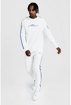 Mens White MAN Signature Sweater Tracksuit With Tape