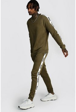 Mens Olive Sweater Tracksuit With MAN Repeat Tape