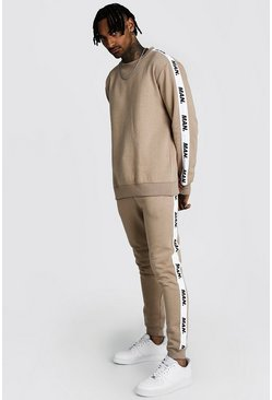 Mens Taupe Sweater Tracksuit With MAN Repeat Tape